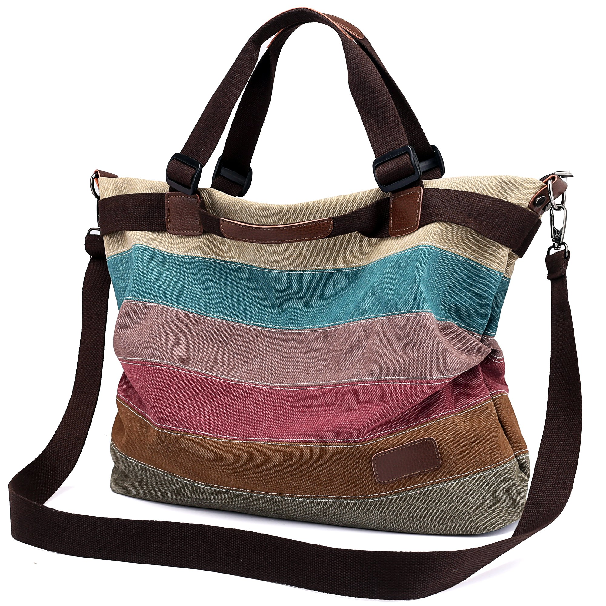Women's Canvas Handbag, Unives Ladies Vintage Tote Hobo Shoulder Bag Shopping Bags Top-handle Satchel Multi-colored,Large Size(17.5x13.5x7Inch)
