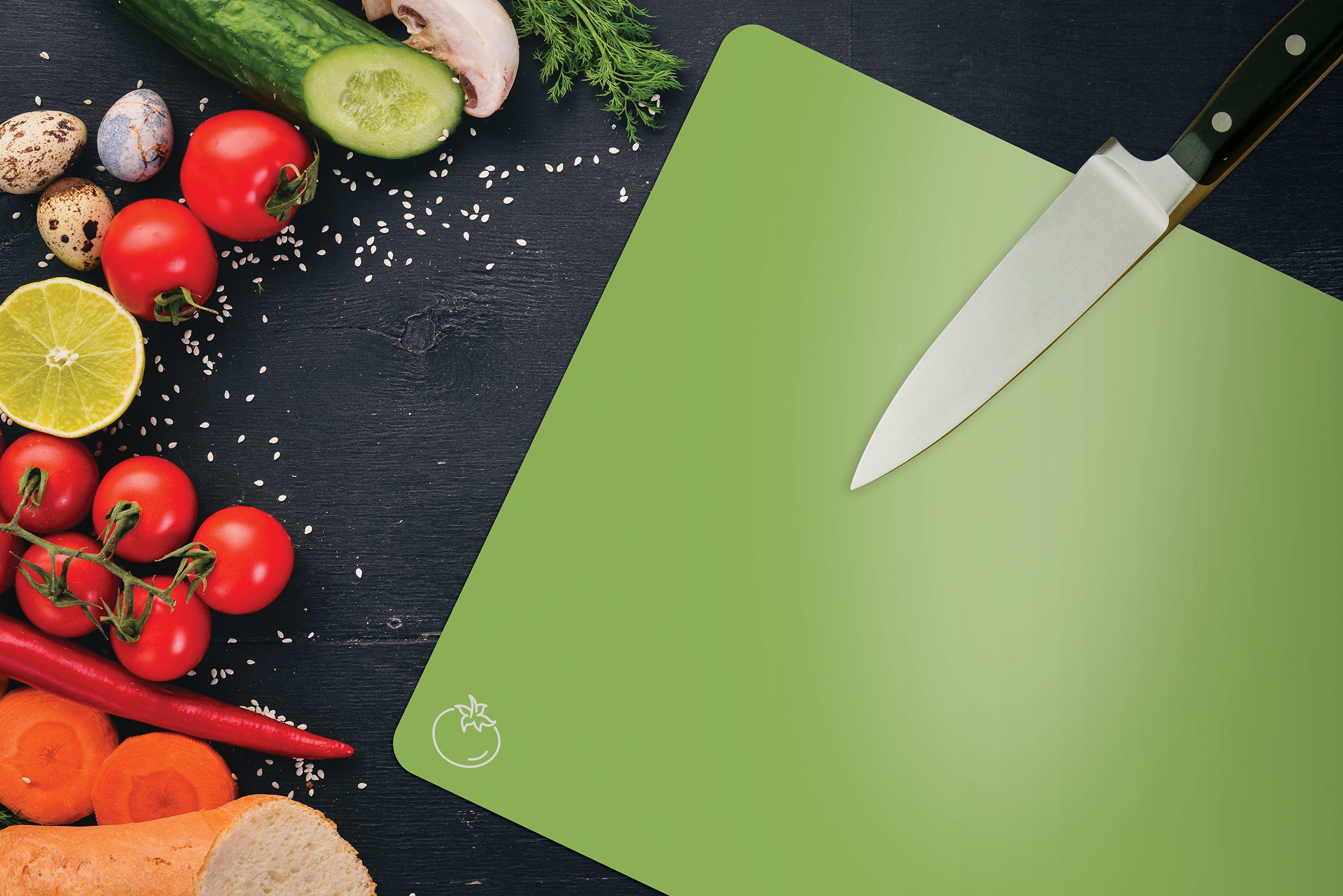 Extra Thick Flexible Plastic Cutting Board Mats, Set of 4, Color Coded with Food Icons, Waffle Back Grip Underside by Better Kitchen Products by Better Kitchen Products (Image #2)
