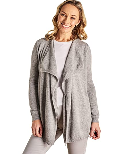 ea8d6d34e Woolovers Womens Cashmere and Merino Waterfall Knitted Cardigan Grey ...