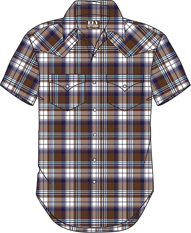 Ely /& Walker Mens Long Sleeve Plaid Western Shirt