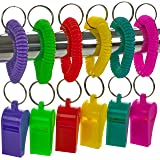 Lucky Dip Favors Goodie Bag Fillers Kids Birthday Party Assorted Neon Color Basketball and Other Sports The Twiddlers 60 Pcs Bulk Plastic Whistles w// Nylon Braided Cord Lanyards Football