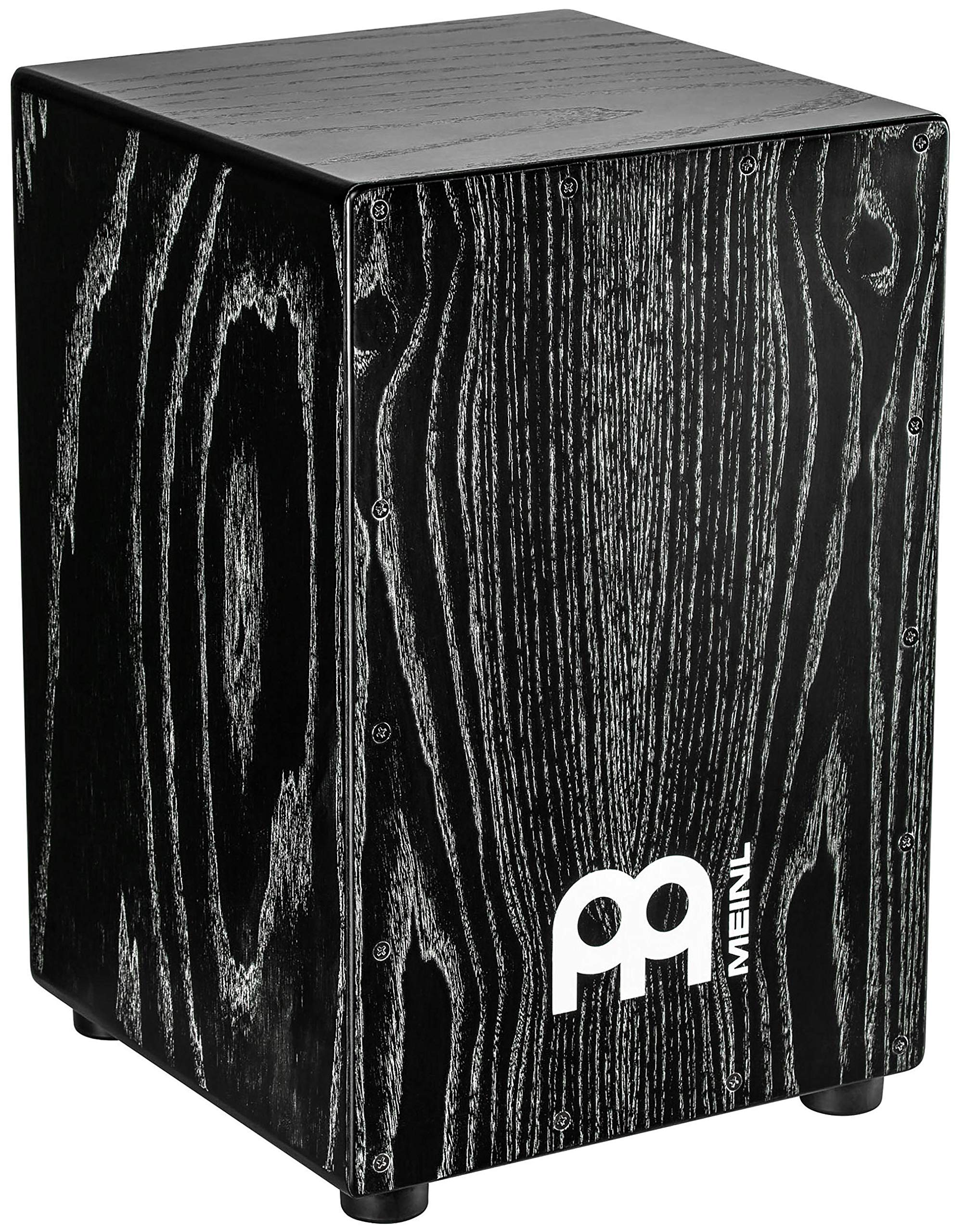 Meinl Percussion Cajon Box Drum with Internal Snares - NOT MADE IN CHINA - American White Ash Vintage Black, Full Size, 2-YEAR WARRANTY, MCAJ100VBK)