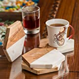 NikkisPride Marble Wooden Mix Hexazon Shaped Cocktail Coaster for Drinks - Set of 4 (White and light brown,5-in width 4.5-inch length)