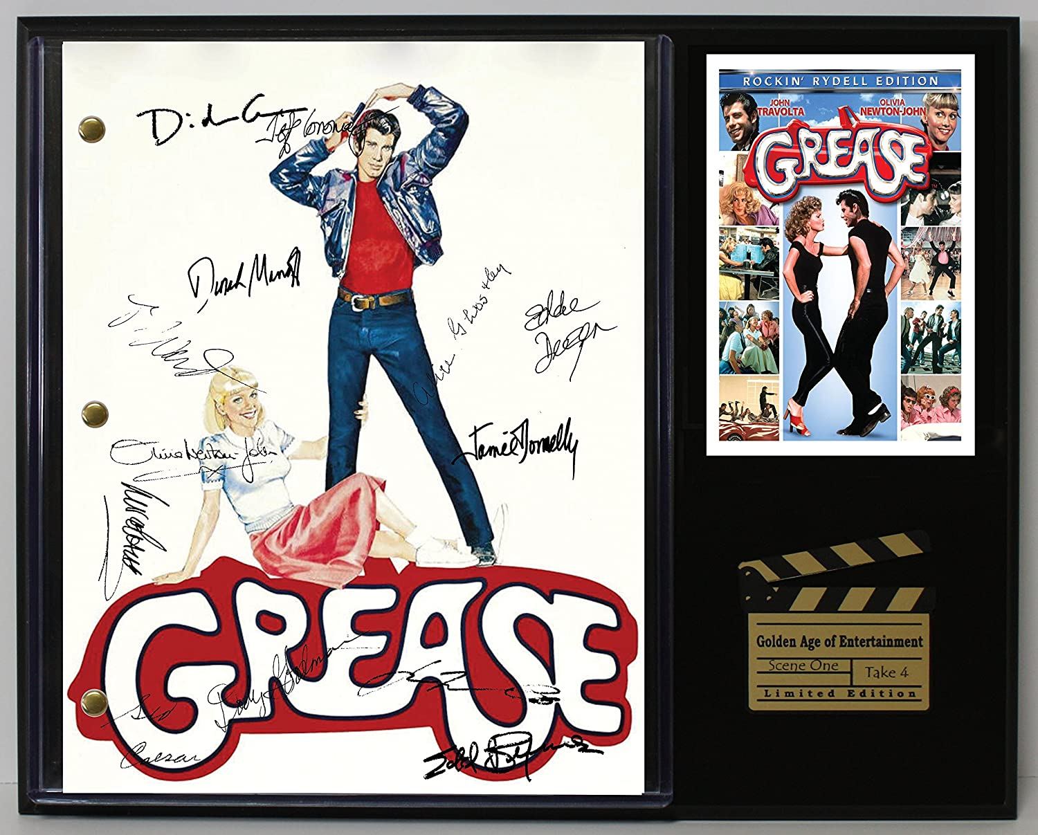 GREASE LTD EDITION REPRODUCTION SIGNED CINEMA SCRIPT DISPLAY'C3'