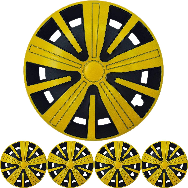 4x Premium Design Radkappen Radzierblenden Spinel Bis 15 Zoll In Gelb Schwarz Auto