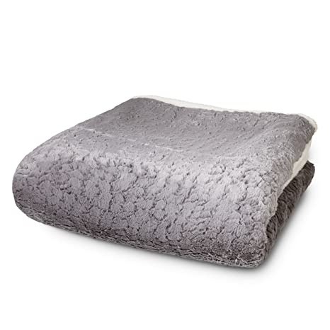 Lumaland Manta para sofá y Cama imitación Piel de Cordero Aprox 150 x 200 cm en Blanco/Gris