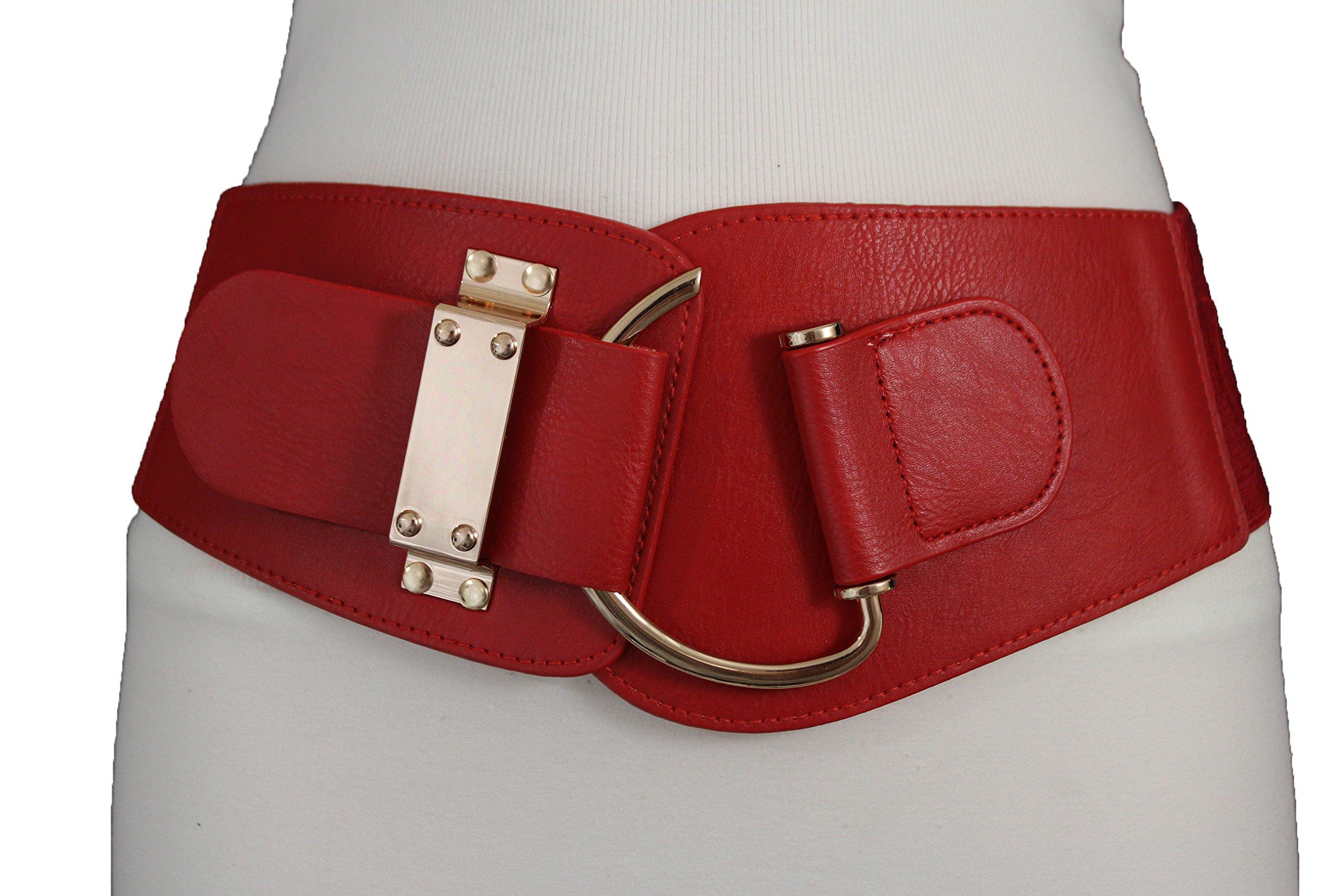 TFJ New Women's Wide Fashion Belt Hip High Waist Gold Metal Hook Buckle Plus M L Xl (Red)