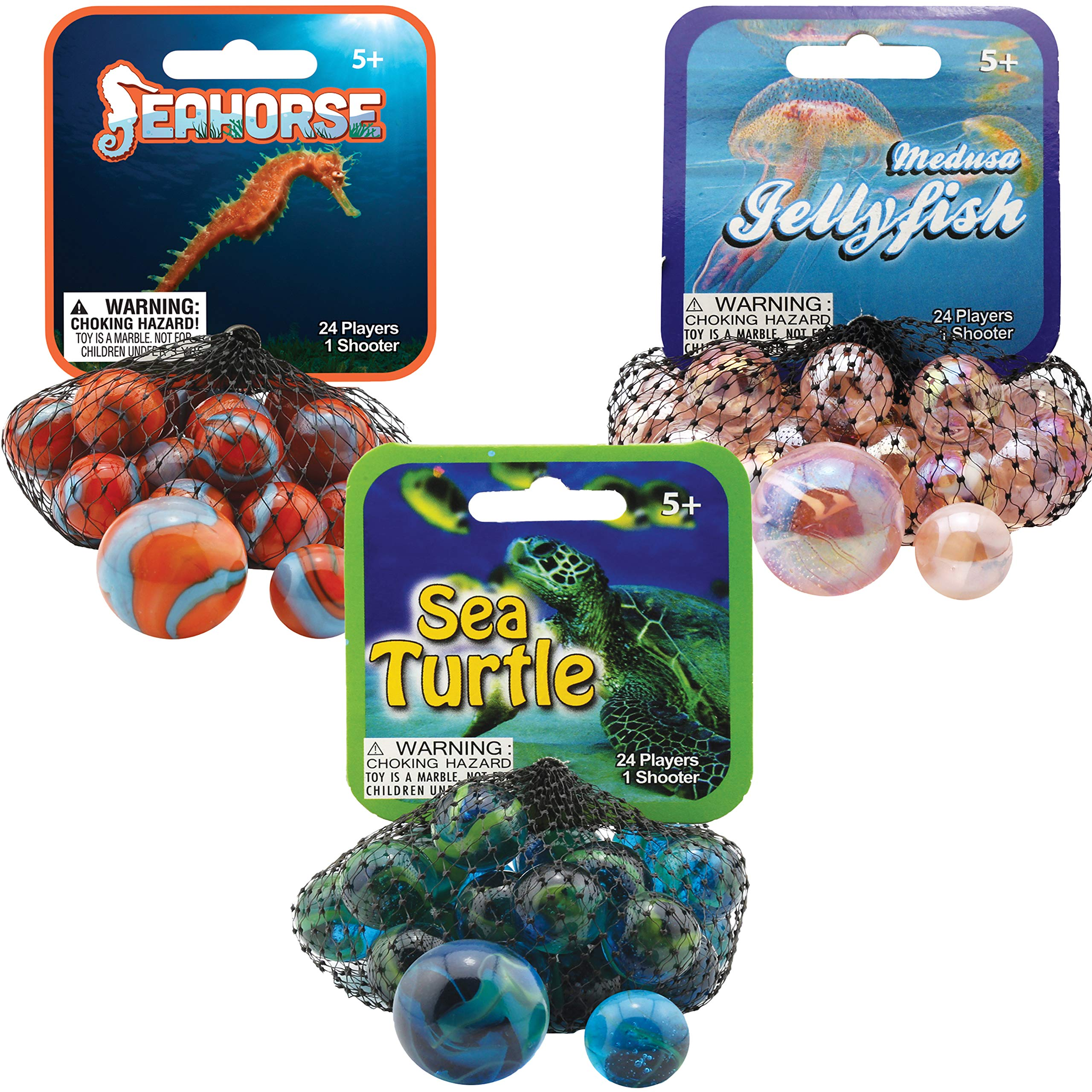 Mega Marbles 3 Pack - Jellyfish, Sea Turtle, & Seahorse Game Nets - Includes 1 Shooter Marble & 24 Player Marbles Per Net
