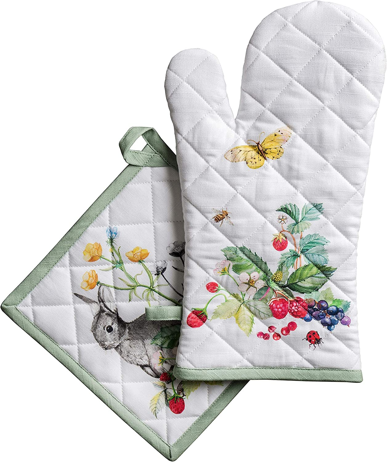 Maison d' Hermine Printemps 100% Cotton Set of Oven Mitt (7.5 Inch by 13 Inch) and Pot Holder (8 Inch by 8 Inch) for BBQ | Cooking | Baking | Grilling | Microwave | Barbecue | Spring/Summer