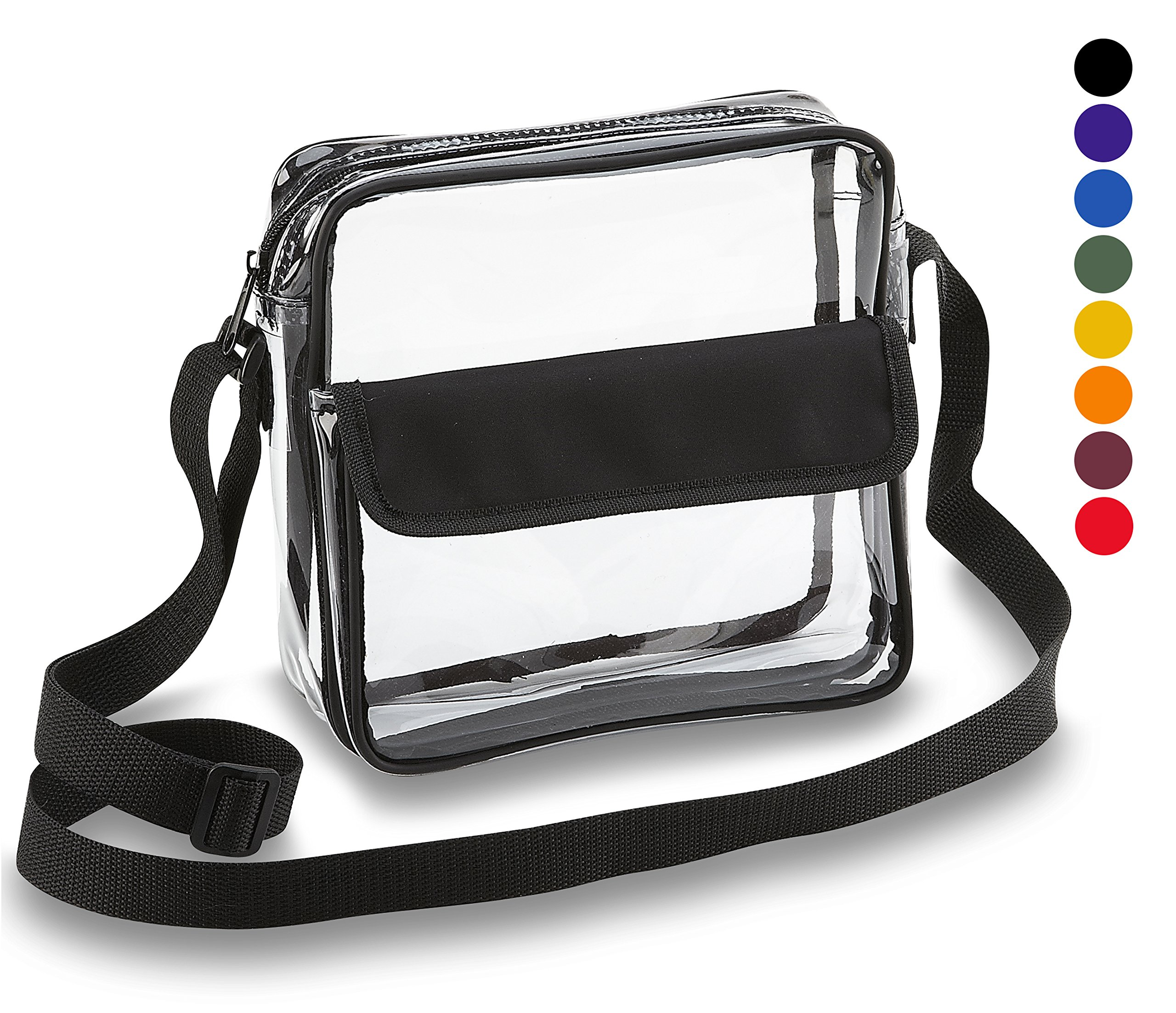 Clear Crossbody Messenger Shoulder Bag With Adjustable Strap NFL Stadium Approved Transparent Purse by Clear Handbags & More