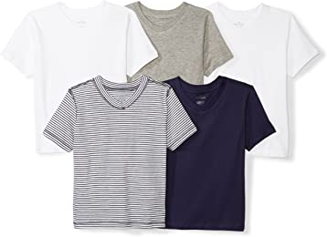 Moon and Back Baby Boys Organic 5-Pack V-Neck Short-Sleeve