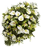 Teters Floral Products HSP0117CRCOM Mixed Calla Lily Orchid Headstone Spray, 36""