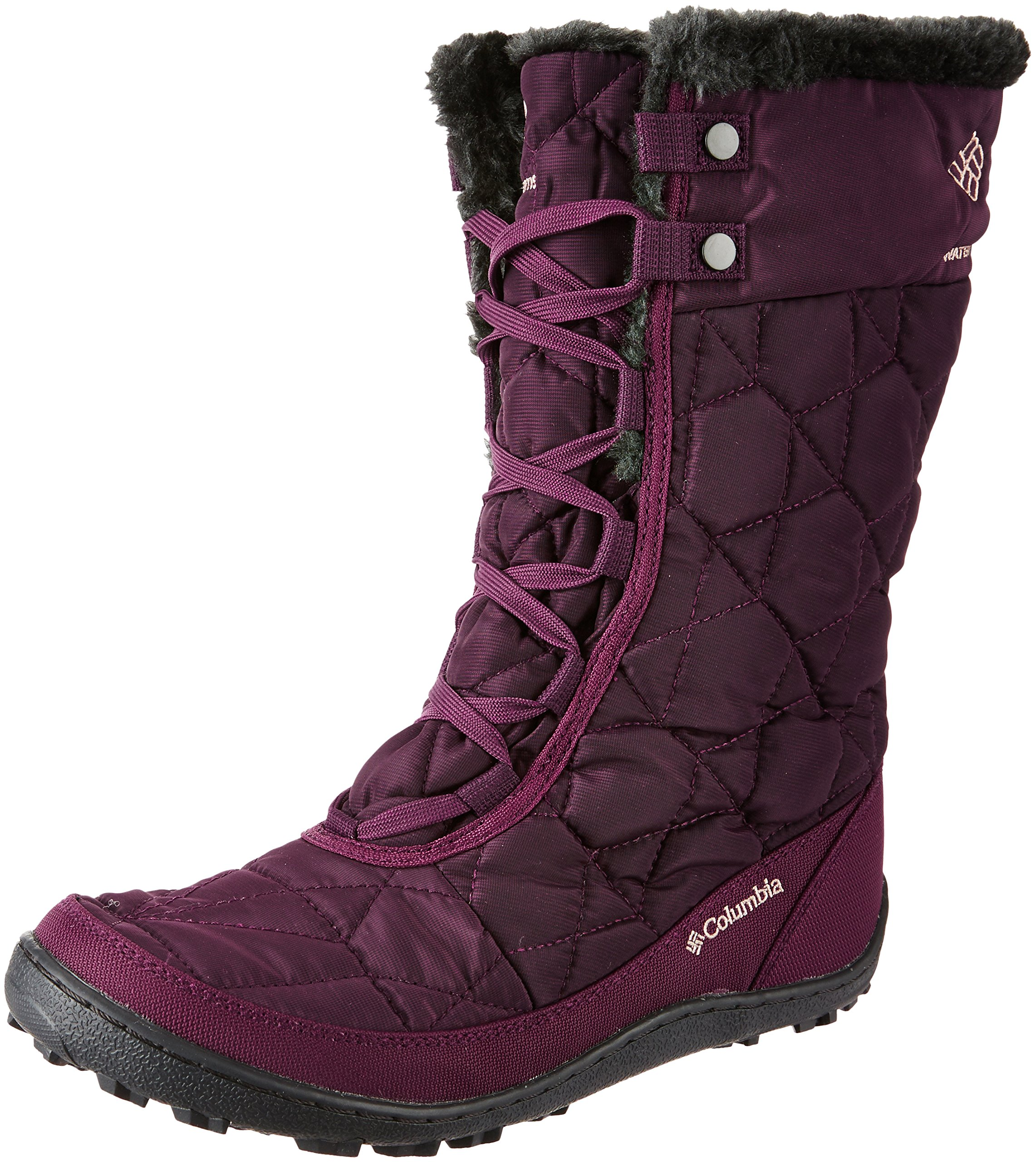 Columbia Women's Minx Mid II Omni-Heat Snow Boot, Purple Dahlia, Ancient Fossil, 5 B US