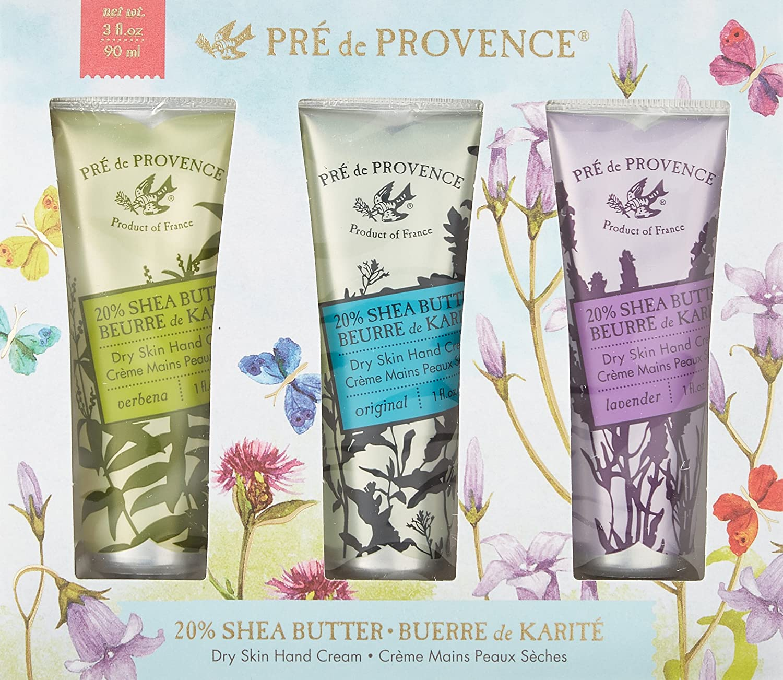 Pre de Provence Floral Meadow Hand Cream Gift Box, Set of 3, Verbena, Original, and Lavender 20 Shea Butter Hand Cream