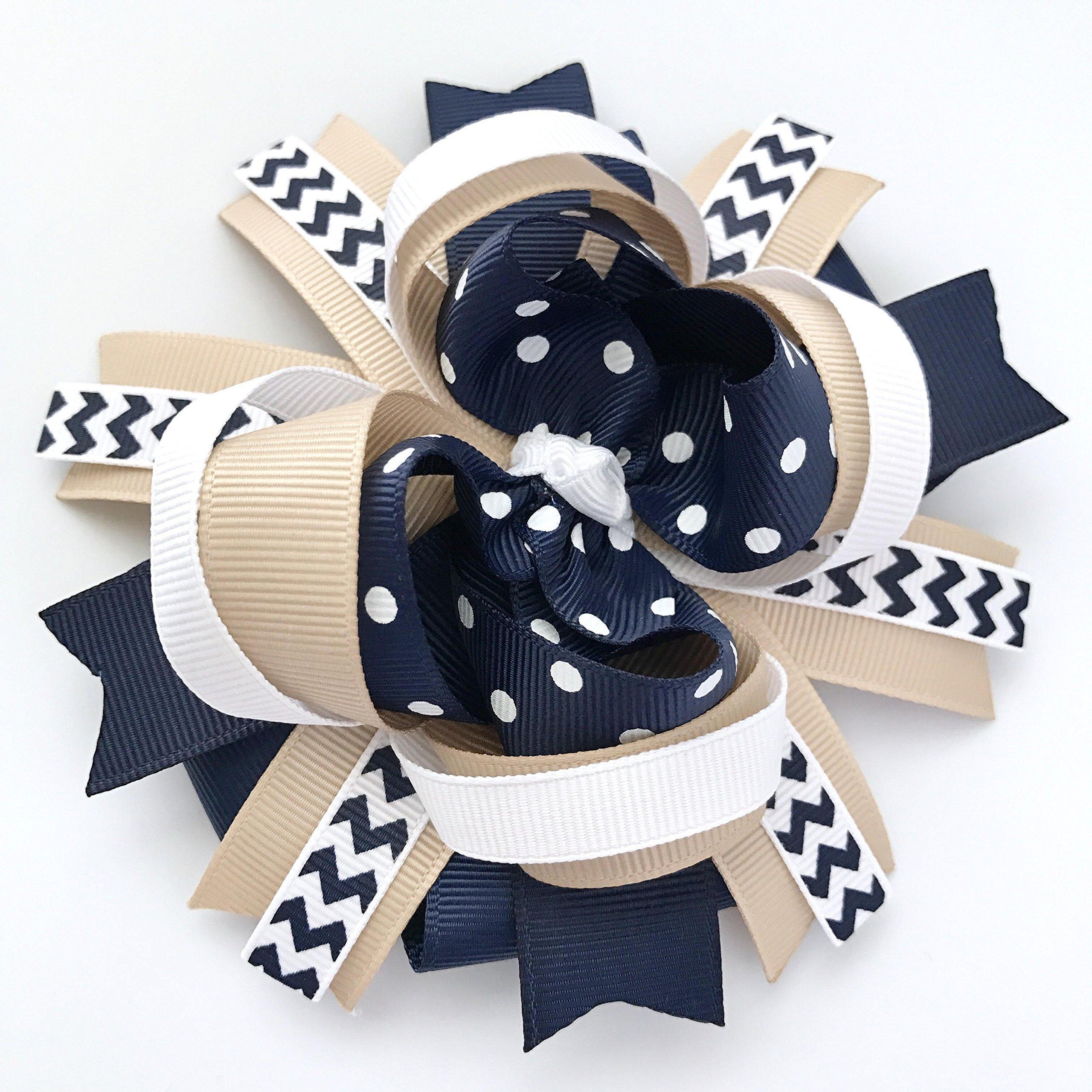 School Uniform Khaki Tan Navy White Hair Bow, Handmade School Uniform Navy Khaki Tan White Hair Bow