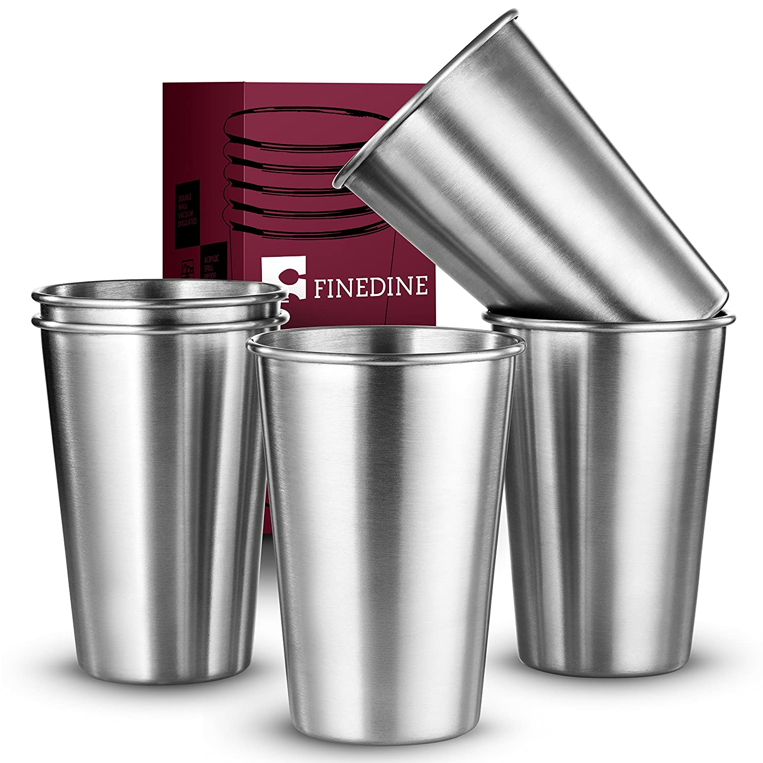 FineDine Premium Grade Stainless Steel Pint Cups Water Tumblers (5 Piece) Unbreakable, Stackable, Brushed Metal Drinking Glasses, Chilling Beer Glasses, for Travel, Outdoor, Camping, Everyday, 16 Oz