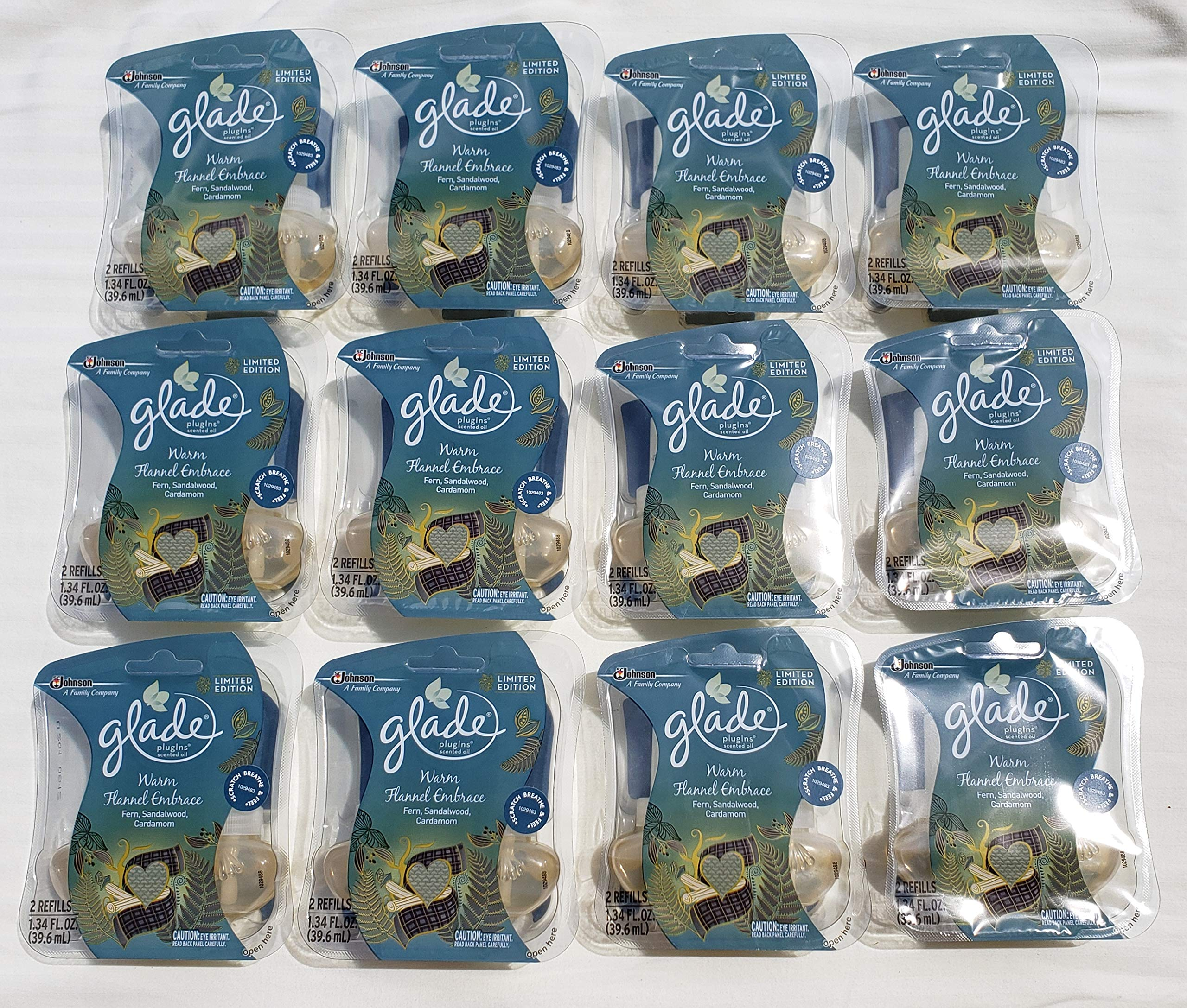 24 Glade PLUGINS Scented Oil Refills Warm Flannel Embrace Limited 12 Twin Packs