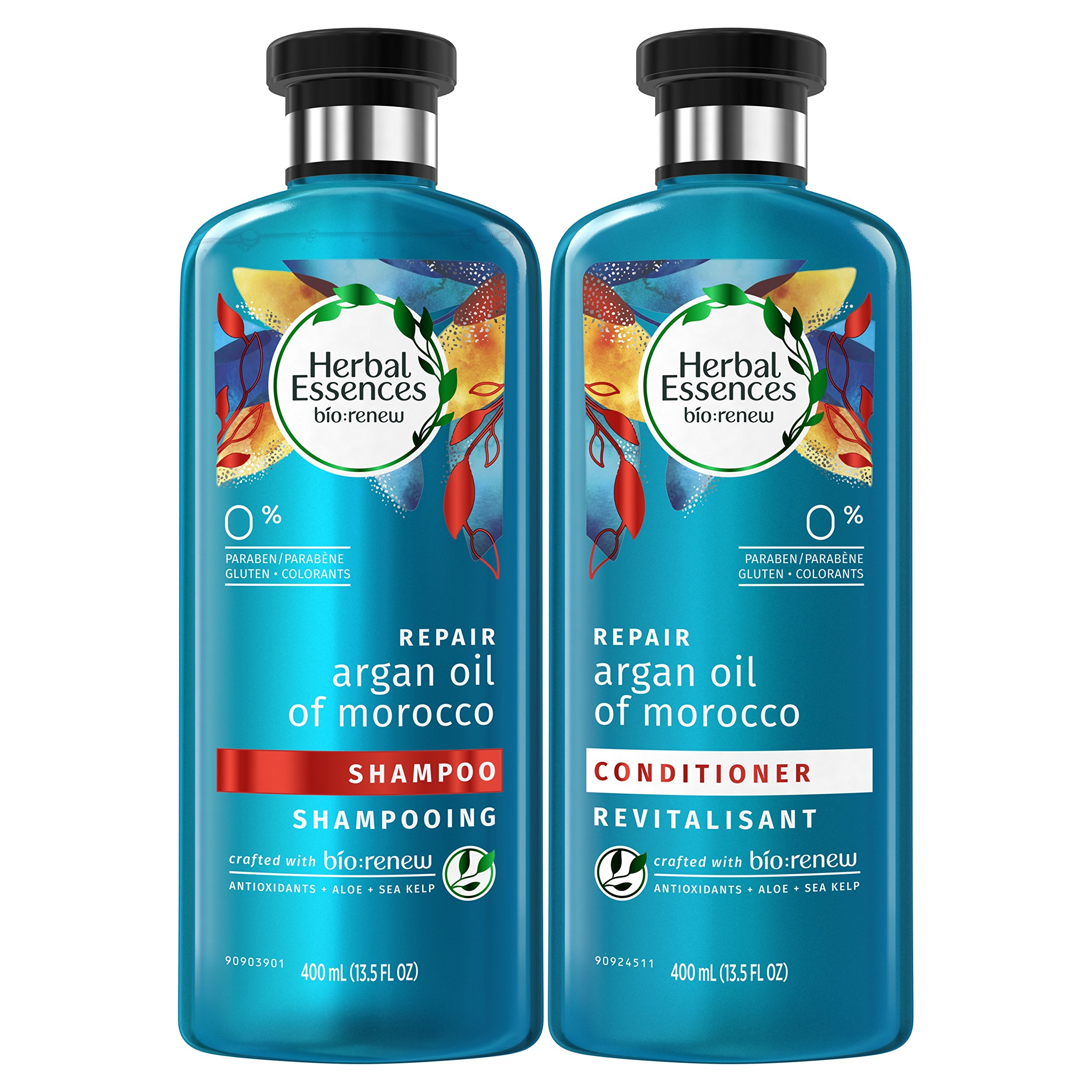 Herbal Essences Argan Oil of Morocco Shampoo and Conditioner for Color Treated Hair, Paraben Free, BioRenew, Bundle Pack, 13.5 FL OZ