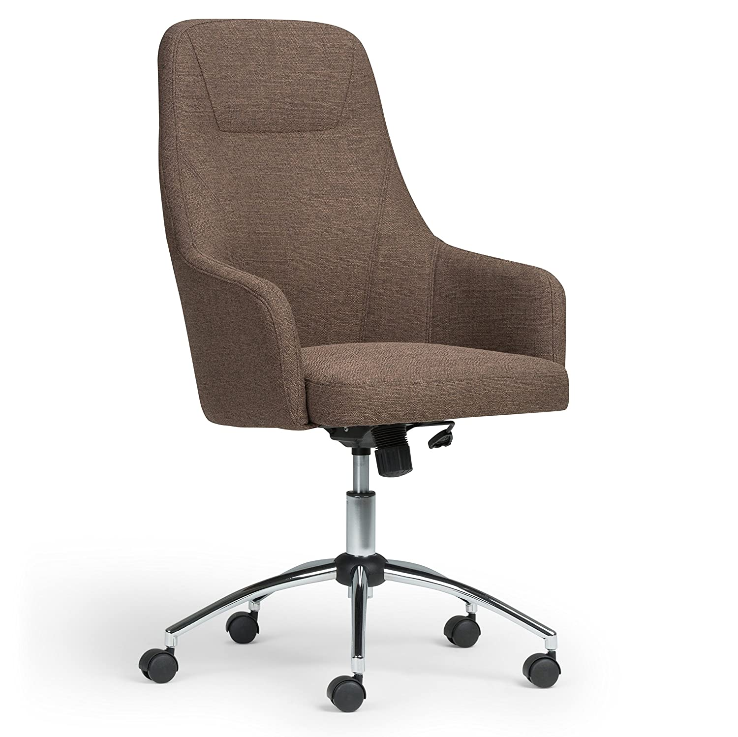 Simpli Home AXCOCHR-04 Jules Swivel Adjustable Executive Computer Office Chair in Chocolate Brown 33