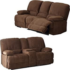 Christies Home Living 2 Piece Kevin Contemporary Fabric Sofa and Love Seat with Storage Console Living Room Set with 4 Reclining Seats, Brown