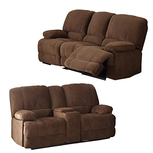 Amazon.com: Christies Home Living 3 Piece Kevin Contemporary Fabric Sofa  And Loveseat Reclining Living Room Sectional With 4 Reclining Seats, Brown:  Kitchen ...