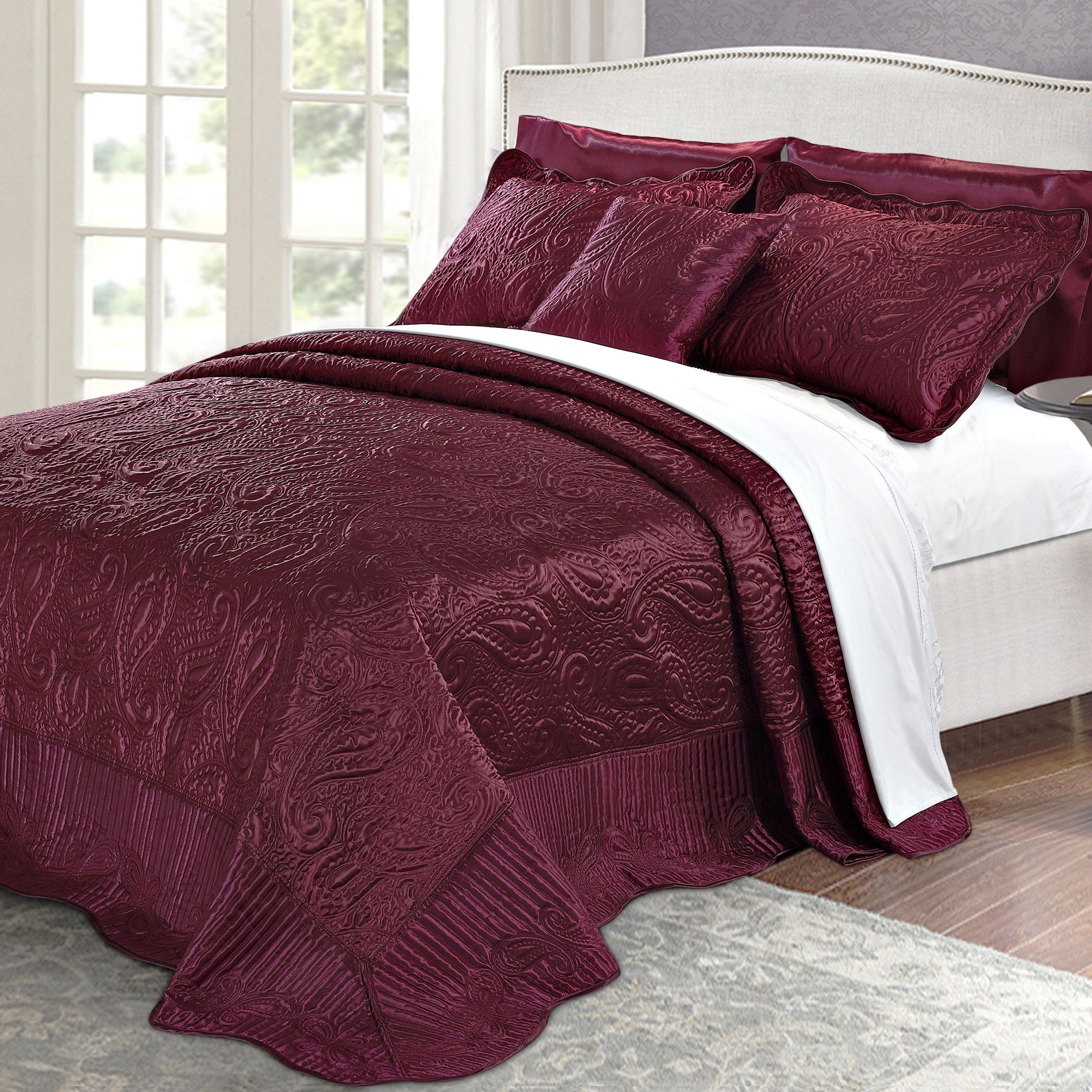 Home Soft Things Serenta Quilted Satin 4 Piece Bedspread Set, King, Burgundy by Home Soft Things (Image #1)