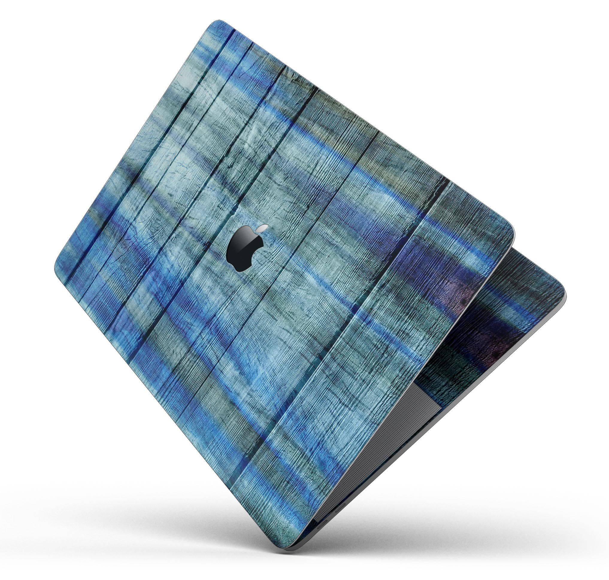 Wood Pattern Design Skinz Premium Full-Body Cover Wrap Decal Skin-Kit for The Apple MacBook 13'' Pro with Retina Display (A1502/A1425) - Blue and Green Tye-Dyed Wood
