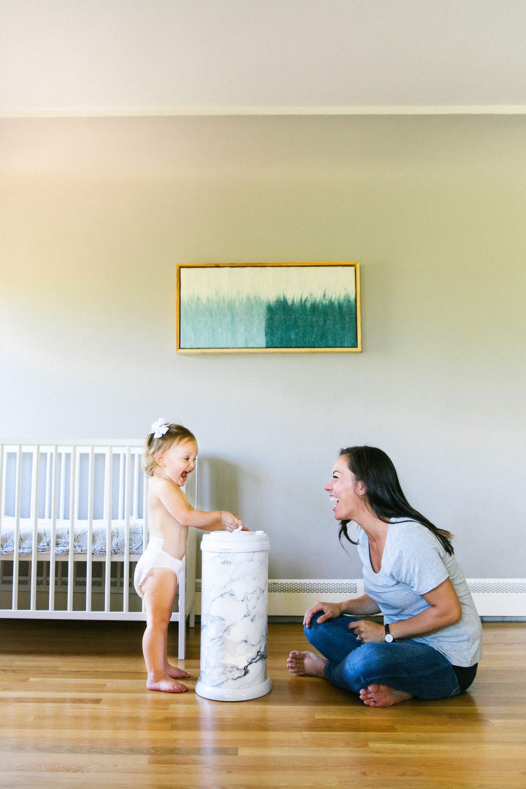 Ubbi Steel Odor Locking, No Special Bag Required Money Saving, Awards-Winning, Modern Design Registry Must-Have Diaper Pail, Marble by Ubbi (Image #6)