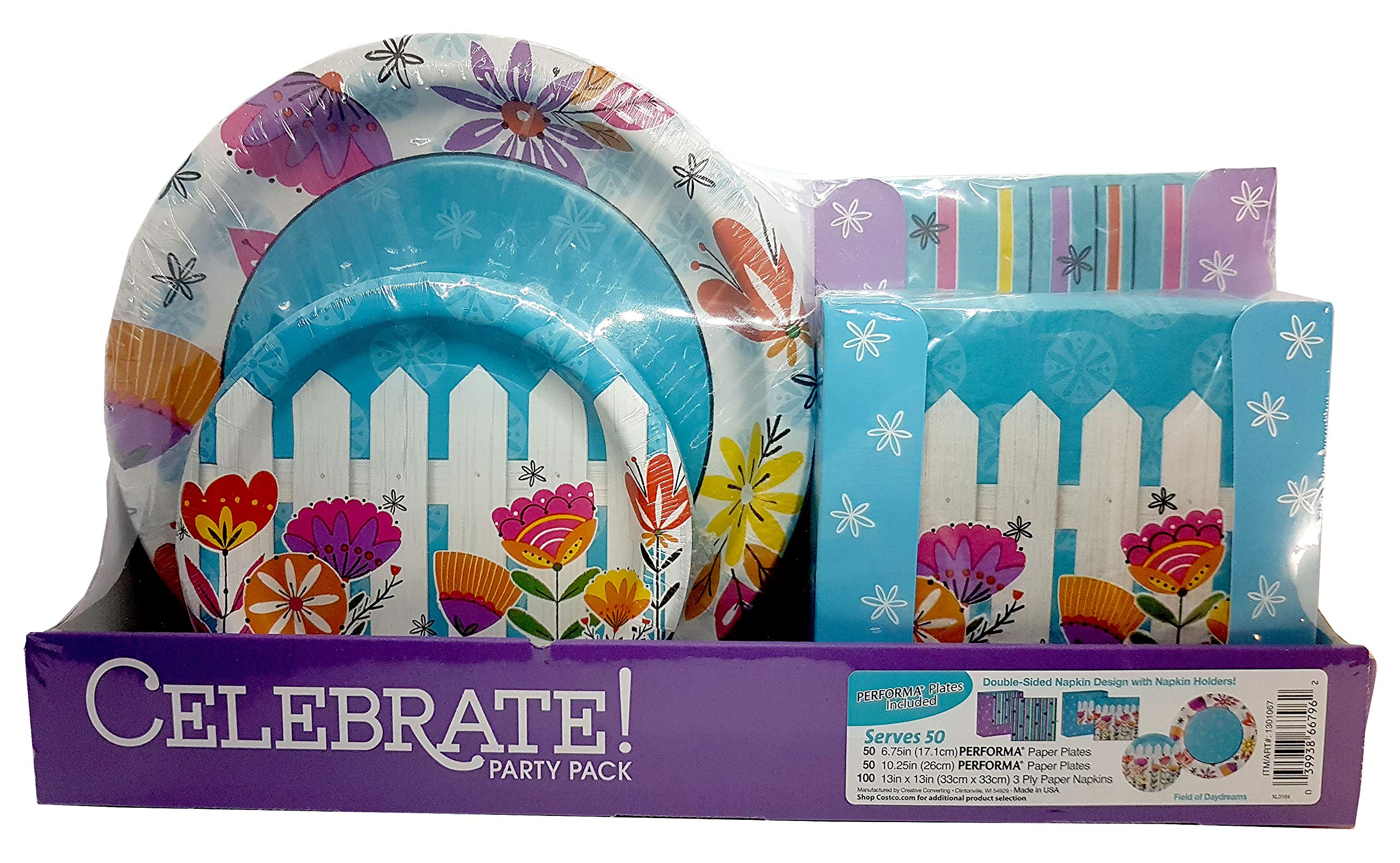 ''Field of Daydreams'' Spring Easter Paper Plates Set Party Pack with Paper Napkins Serves 50