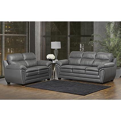amazon com sofaweb com marcus premium grey top grain leather sofa rh amazon com