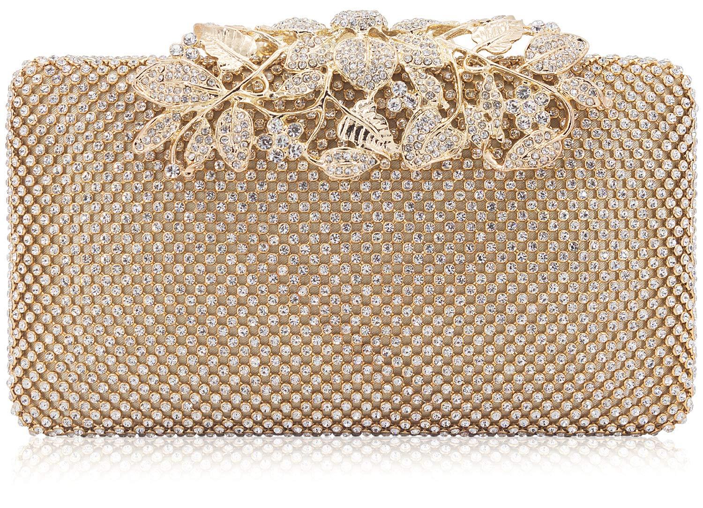 Dexmay Womens Evening Bag with Flower clasp Wedding Handbag Rhinestone Crystal Clutch Purse Gold