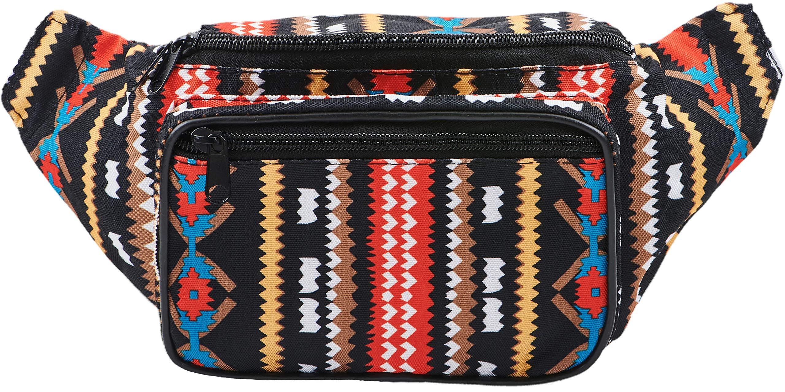 SoJourner Aztec Fanny Pack - Boho Festival Packs for men, women | Cute Waist Bag Fashion Belt Bags (black)