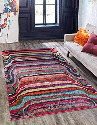 Unique Loom Chromatic Collection Modern Abstract Colorful Striped Multi Area Rug 10' 6 x 16' 5