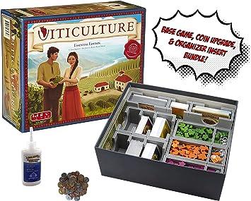 Juego de Mesa Viticulture + Juego de Monedas de Metal Viticulture + Organizador de Inserciones Evacore Ajustable + Pegamento Dorado Groundhog – Paquete de Juego de Mesa.: Amazon.es: Juguetes y juegos