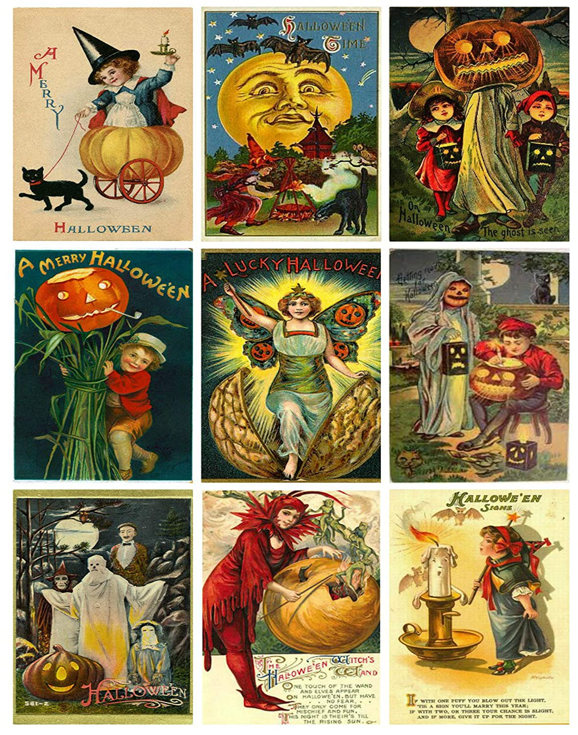 Victorian Vintage Halloween Printed Collage Sheet 8.5 x 11 Paper Moon Media