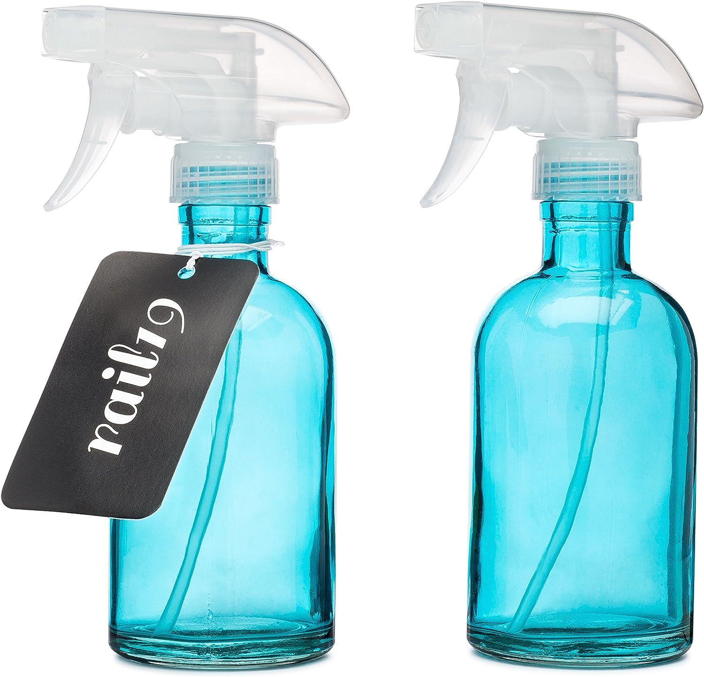 Set of Two Rail19 Beach Blue Glass Spray Bottle w Clear Spray Nozzle
