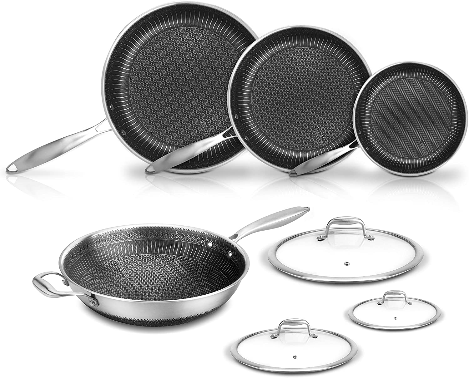 7-Piece Cookware Set Stainless Steel - Triply Kitchenware Pans Set Kitchen Cookware w/ DAKIN Etching Non-Stick Coating - Small, Medium, & Large Stir Fry Pan with Lid, Wok - NutriChef NC3PLY7S