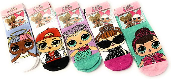 Girls Official  Lol Surprise Socks  3 Pairs New Design  Sizes 6-8 9-12 12.5-3
