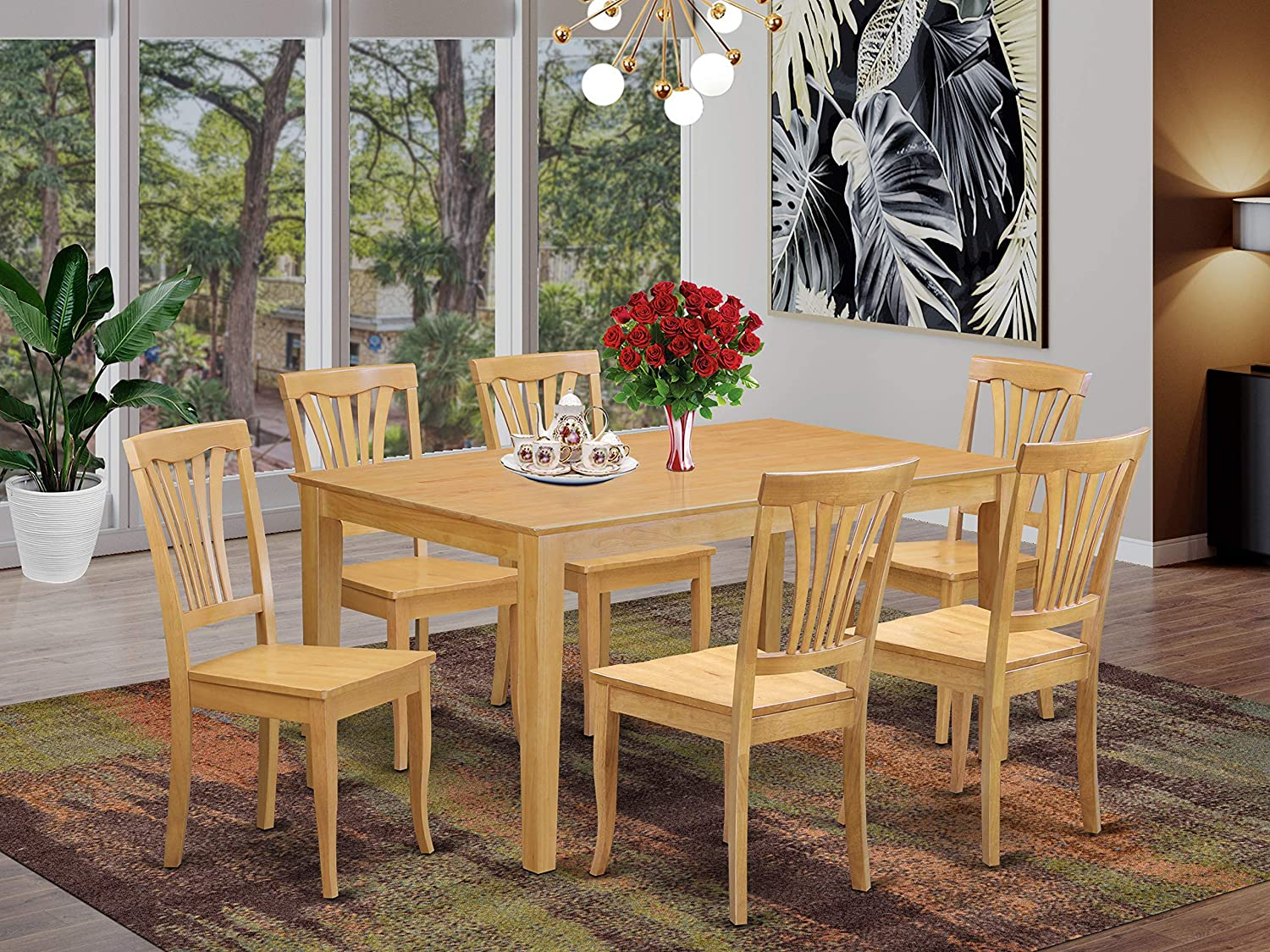East West Furniture Rectangular Kitchen Table Set 9 Pc   Oak Color Wooden  Kitchen Dining Chairs Seat   Oak Finish Dining Room Table and Structure