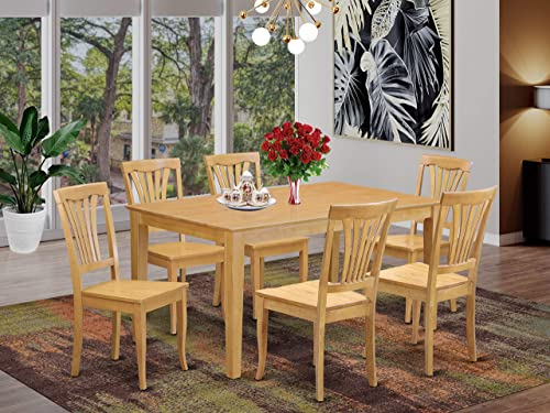 East West Furniture Rectangular Kitchen Table Set 7 Pc