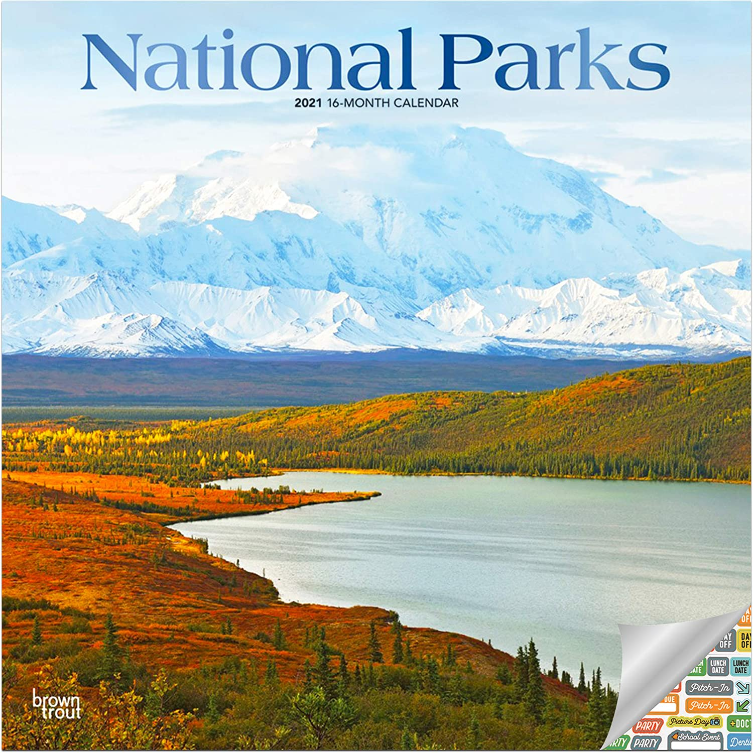 National Parks Calendar 2021 Bundle - Deluxe 2021 National Parks Wall Calendar with Over 100 Calendar Stickers (National Parks Gifts, Office Supplies)