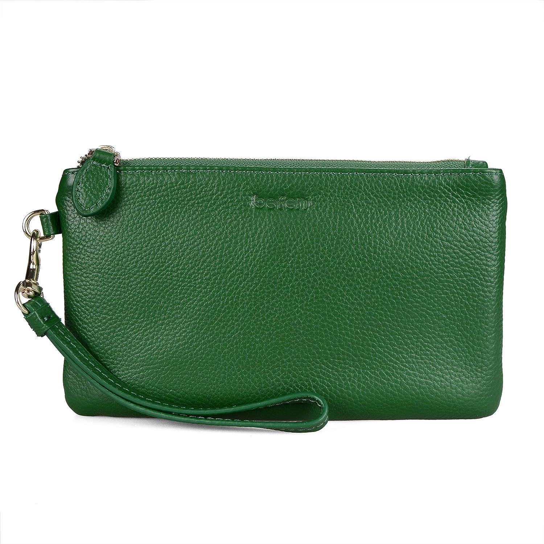 Befen Women's Genuine Full Grain Leather Wristlet Clutch Wallet, Smartphone Wristlet Purse Signature Wallet