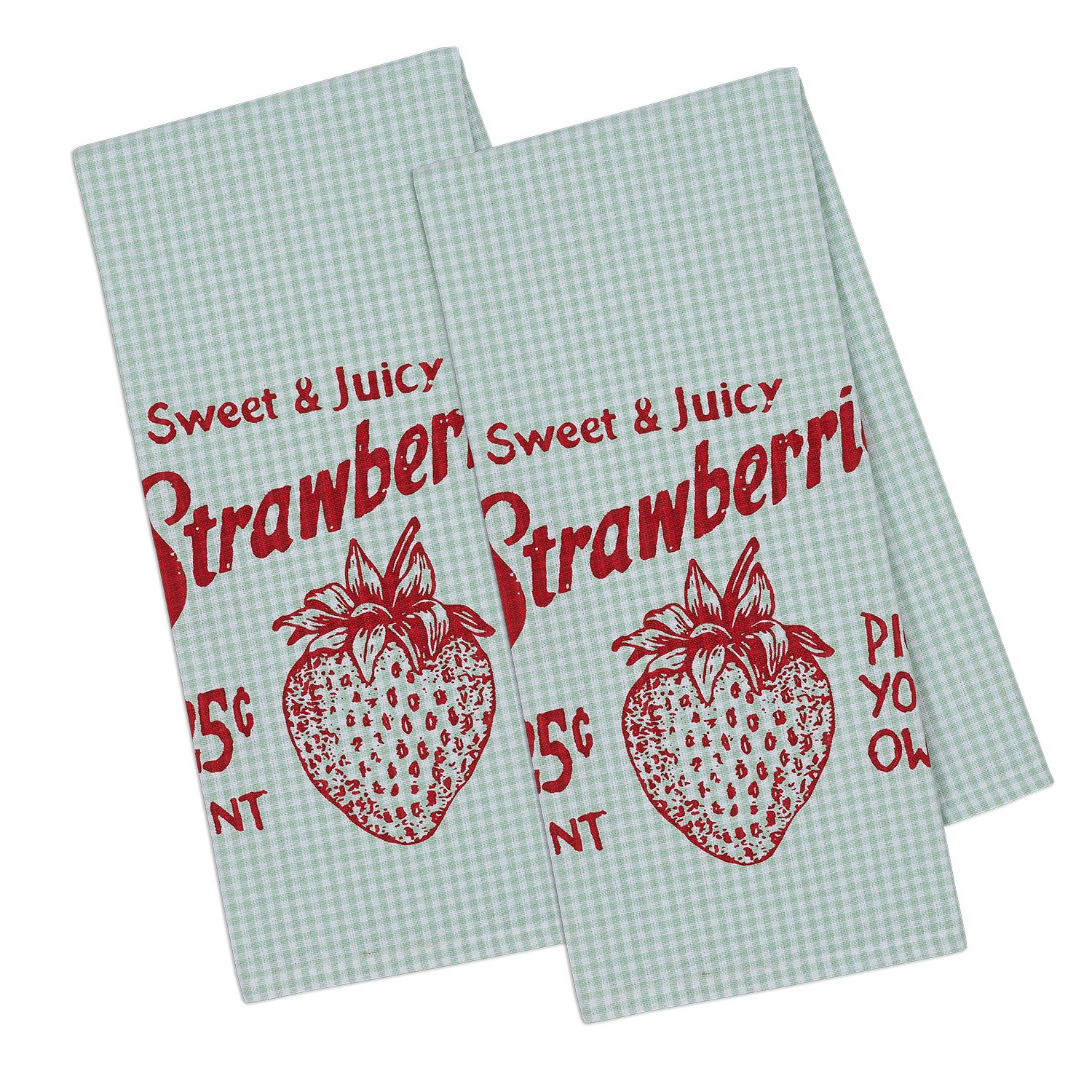 "DII Cotton Printed Dish Towels, 18x28"" Set of 2, Decorative Oversized Kitchen Towels,Perfect Home and Kitchen Gift-Strawberry Picking"