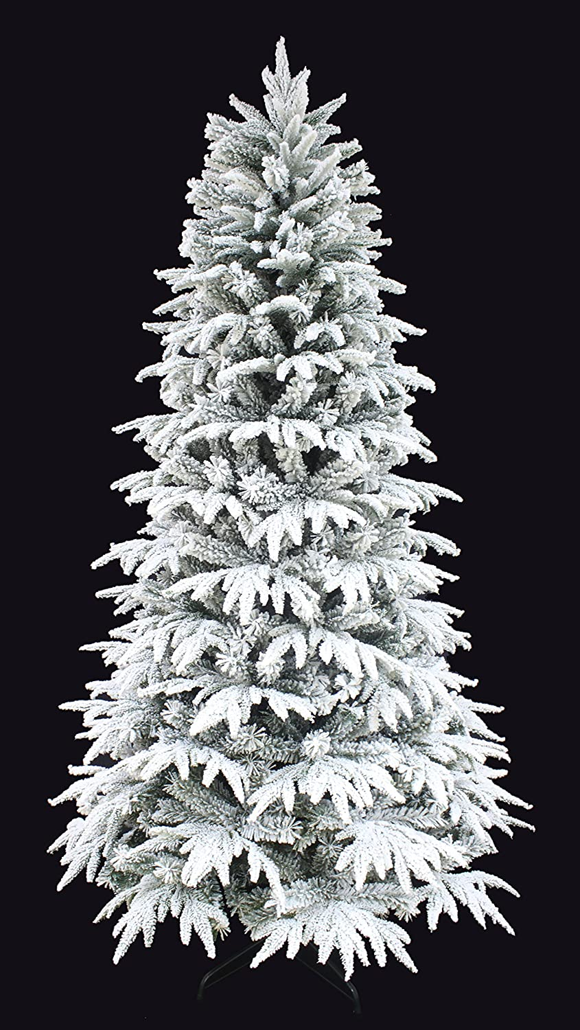 HOLIDAY STUFF Snowy Forest Spruce The Real Feel Pe Flocked Narrow Slim Artificial Christmas Tree (6ft Unlit)