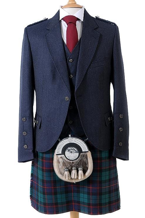 Crail Highland chaqueta y cinco botón chaleco en color azul Tweed de Arrochar – largo ajustable