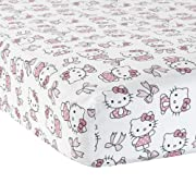 Bedtime Originals Hello Kitty Luv with Bows Pink/White Fitted Baby Crib Sheet