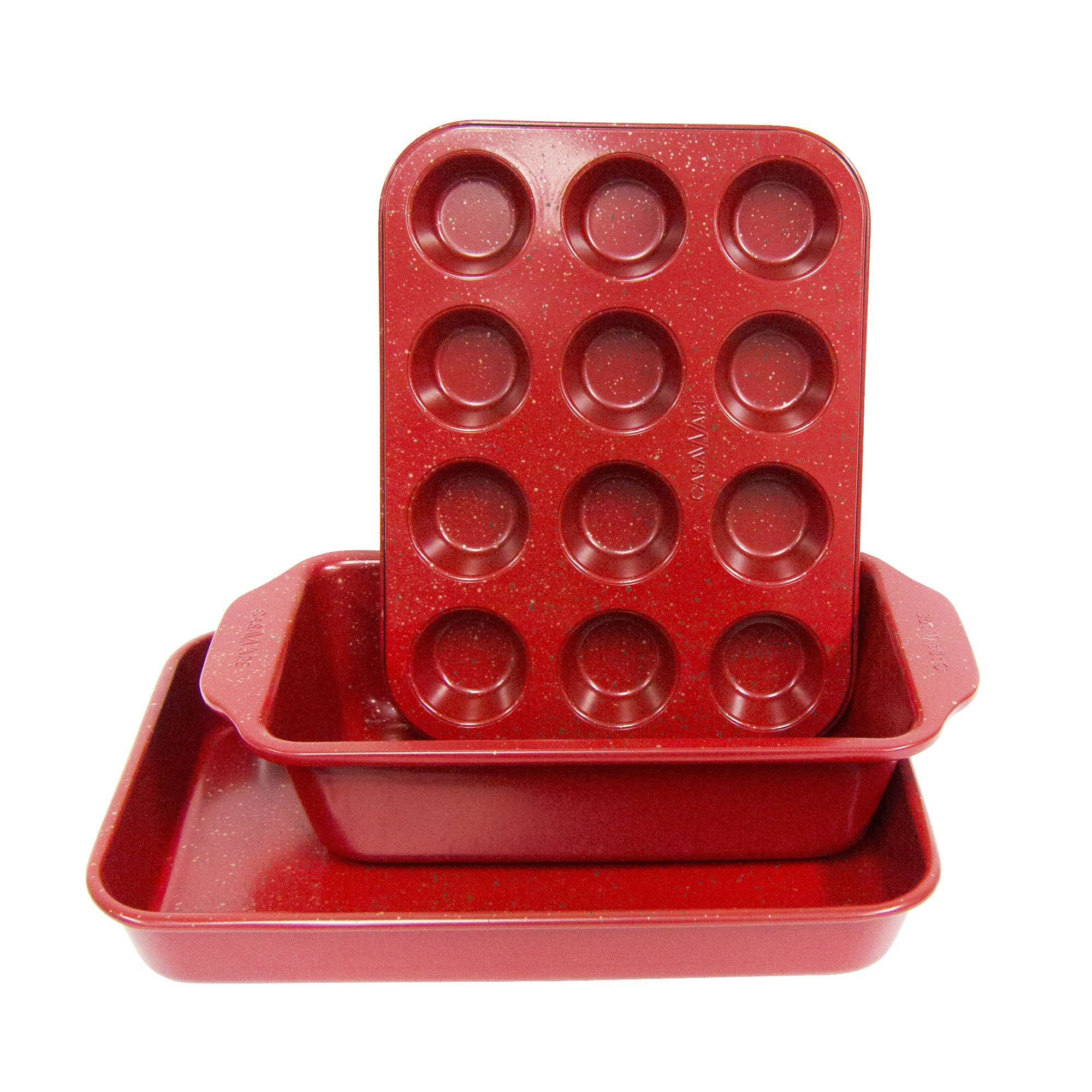 casaWare Toaster Oven 3pc Set (Baking, Loaf and Mini Muffin Pan 12 Cup) (Red Granite)