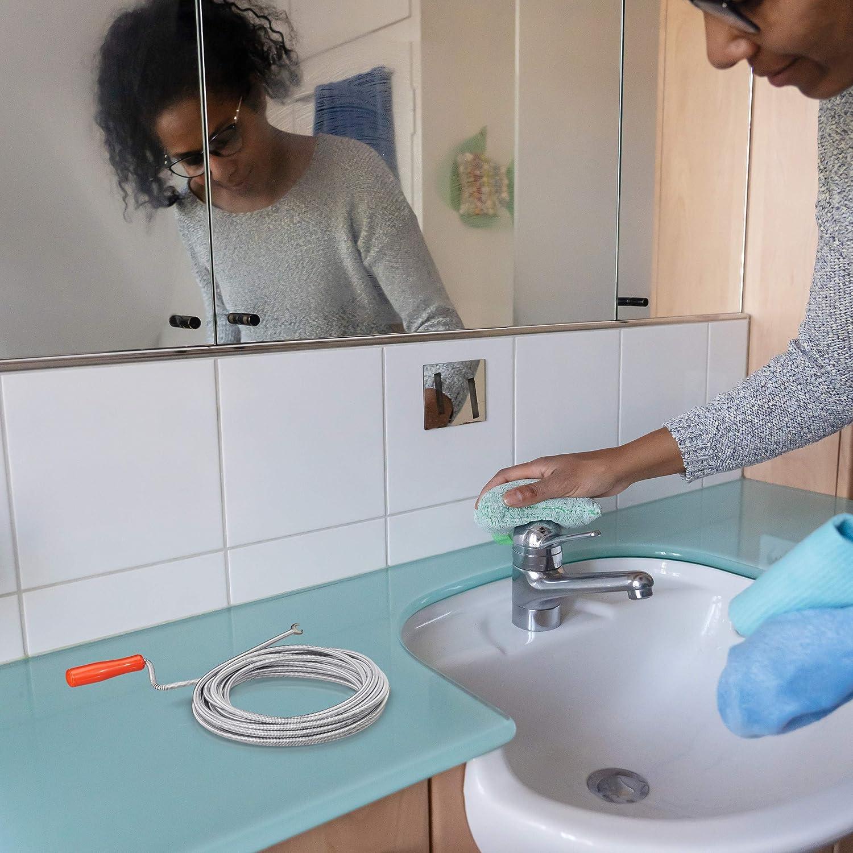 Waschbecken 6mm x 3m Relaxdays Rohrreinigungsspirale mit Kralle WC mechanische Rohrreinigung Dusche Stahl silber