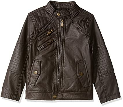 Amazon.com: Urban Republic Boys' Faux Leather Jacket with Quilting ...