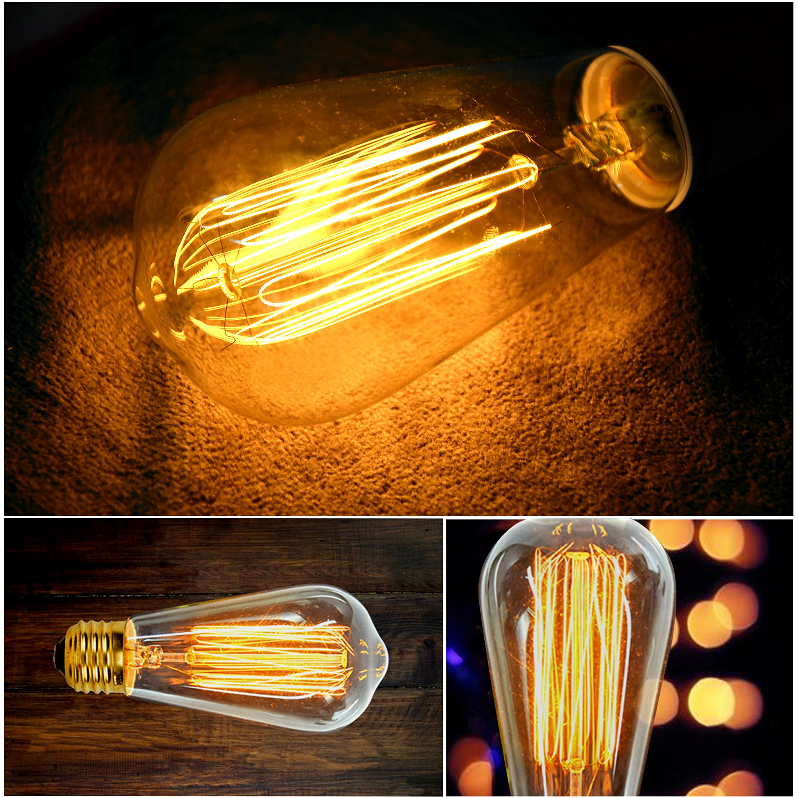 Vintage Edison Light Bulbs (6 Pack), 60W, ST64, E26, Squirrel Cage, Dimmable,Clear Glass, Industrial Vintage Incandescent Bulbs by Youngever (Image #2)